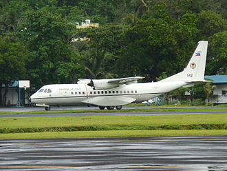 Philippine Air Force - A Philippine Air Force C-295M taxis after landing at the Legazpi Airport in Legazpi City, Albay. The aircraft is assigned to the Tactical Operations Group 5 of the Philippine Air Force.