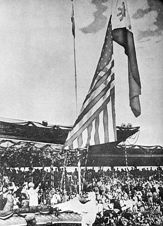 History of the Philippines (1946–65) - The Flag of the United States of America is lowered while the Flag of the Philippines is raised during the Independence Day ceremonies on July 4, 1946