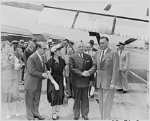 Photograph of President Truman greeting President Galo Plaza of Ecuador at Washington National Airport, upon Galo... - NARA - 200300.jpg