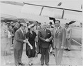 Photograph of President Truman greeting President Galo Plaza of Ecuador at Washington National Airport, upon Galo... - NARA - 200300.tif