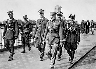 May Coup (Poland) - Józef Piłsudski and other coup leaders on Poniatowski Bridge in Warsaw.