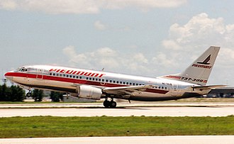 Boeing 737 Classic - A 737-300 in operation with Piedmont Airlines, one of the first customers of the aircraft:  The aircraft features special markings identifying the model type.