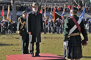 Pierre Duchesne - Duchesne on Remembrance Day, 2010, receiving the vice-regal salute