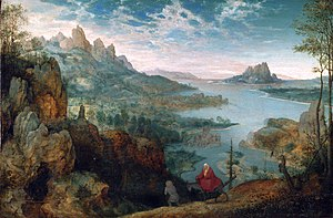World landscape - Pieter Bruegel the Elder, Landscape with the Flight into Egypt, 1563, 37.1 × 55.6 cm (14.6 × 21.9 in)