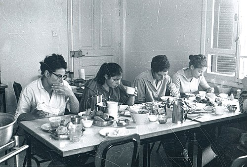 The communal dining hall in Kibbutz Merom Golan, ca. 1968-1972 PikiWiki 3560 Architecture of the Golan Heights.jpg