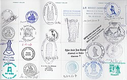 St. James pilgrim passport stamps in France on the Via Turenensis (Tours route) for the Chemin de St. Jacques de Compostelle. The World Heritage Sites of the Routes of Santiago de Compostela in France lists the major French towns with stamps.