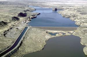 Columbia Basin Project - Aerial view of Pinto Dam, Washington, USA.