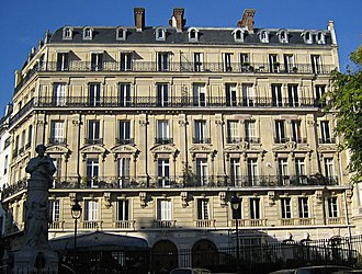 Garret - Place Saint-Georges in Paris, showing top-floor garret windows