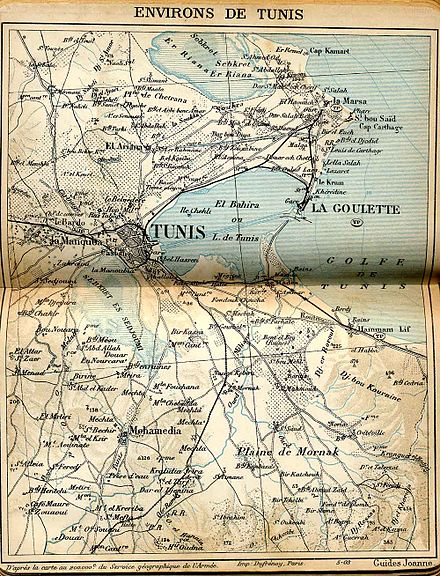 Historical map of the Tunis area (1903), showing St. Louis of Carthage between Sidi Bou Said and Le Kram. Plan Tunis et ses environs - 1903.jpg
