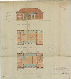 Hughenden, Queensland - Architectual plans for the two-storey court house drawn up in 1945, a project which was abandoned when it was discovered that the foundations could not support a 2-storey building