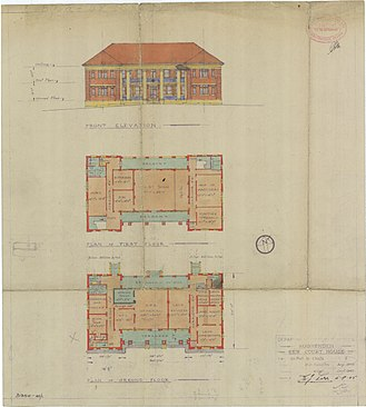Hughenden, Queensland - Architectural plans for the two-storey court house drawn up in 1945, a project which was abandoned when it was discovered that the foundations could not support a 2-storey building