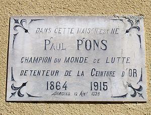 Paul Pons - Plaque sur la maison natale de Paul Pons