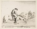 Plate 5- a barefoot peasant on horseback crossing a river, another peasant on horseback and leading a horse on a bank to right in the background, from 'Diversi capricci' MET DP817356.jpg
