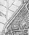 Plattegrond Maastricht uit atlas Civitates Orbis Terrarum (Braun en Hogenberg, 1575) - omgeving huidige Herbenusstraat, walmuur tussen Brusselsepoort en Lindenkruiispoort.jpg