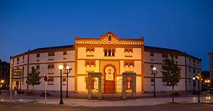 Plaza de Toros de El Bibio - Façade of El Bibio bullring at night