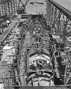 HY-80 - Image: Plunger (SSN 595) on the ways at Mare Island