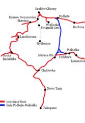 Mapa przebiegu linii kolejowej