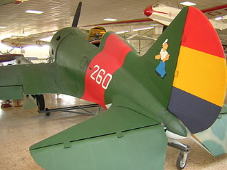 "Polikarpov I-16 - I-16 in Spanish Republican colors with ""Popeye mascot"""