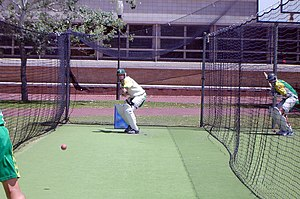 Cricket nets - Cricketer Shaun Pollock batting in the nets at the University of Western Australia
