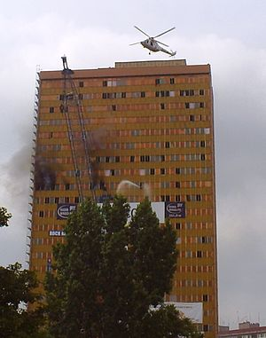 Poltegor Centre - Rescue exercises. Life-saving with burning building.