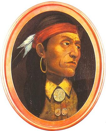 An artistic interpretation of Chief Pontiac by John Mix Stanley. No authentic images of the chief are known to exist. Pontiac-chief-artist-impression-414px.jpg