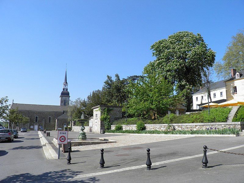 Church and town hall square in Port-Brillet, Mayenne, France