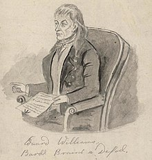 Drawing of Iolo Morganwg (c. 1800) by an unknown artist in the National Library of Wales