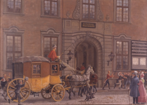 Møinichen Mansion - The mail coach from Hamburg outside the Mail House in Købmagergade, undated painting by Rasmus Christiansen