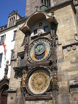 The Prague astronomical clock was first installed in 1410, making it the third-oldest astronomical clock in the world and the oldest one still working. Praga 0003.JPG