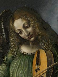 Predis, Giovanni Ambrogio de — Angel in green with a vielle, part of S. Francesco altarpiece, Milan (bust) — 1490s.jpg