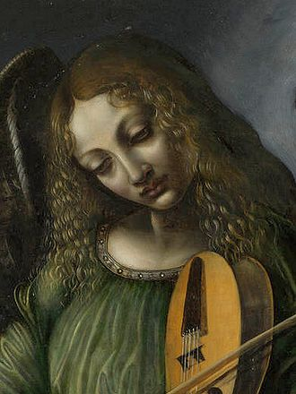 Virgin of the Rocks - Detail of green angel