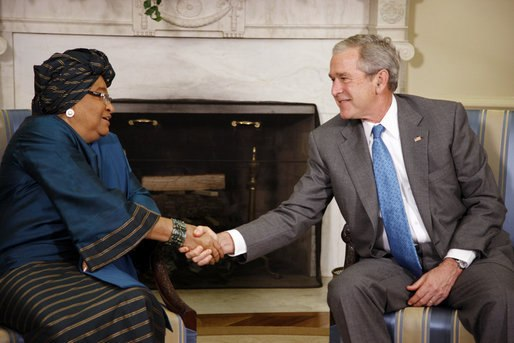 President Bush and President Johnson Sirleaf, 2008