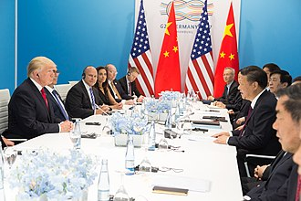 China–United States relations - U.S. President Donald Trump (left) and Chinese paramount leader Xi Jinping (right) meet in Hamburg, Germany in July 2017.