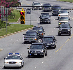 Presidential Motorcade Transporting U S President George W Bush In Charlotte North Carolina July 2005