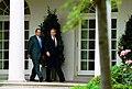 President George W. Bush and Prime Minister Kostas Karamanlis of Greece visit the Rose Garden.jpg