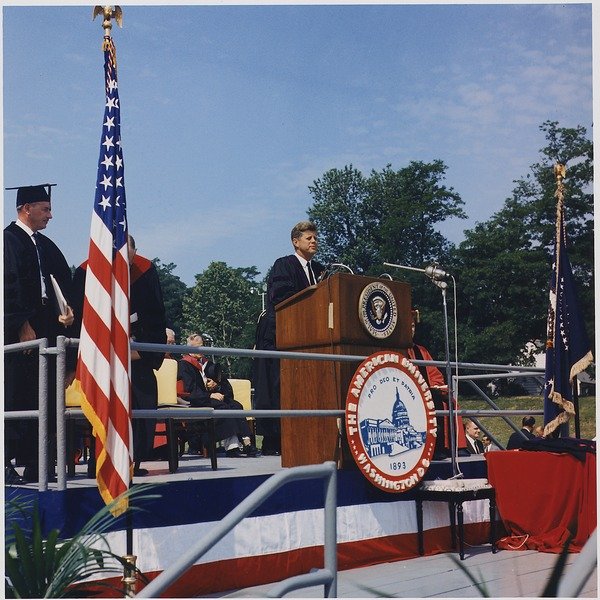 File:President addresses American University Commencement, receives honorary degree. President Kennedy at Podium... - NARA - 194263.tiff