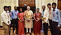 Prime Minister Narendra Modi with the team of students involved in building satellite Sathyabamasat.jpg