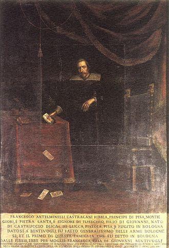 Tarocco Bolognese - 17th-century portrait of Francesco Fibbia with some cards.
