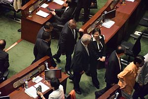 2014–15 Hong Kong electoral reform - Pro-Beijing legislators walked out right before the historic vote.