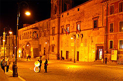 A night view of the City Hall (Palazzo Comunale).
