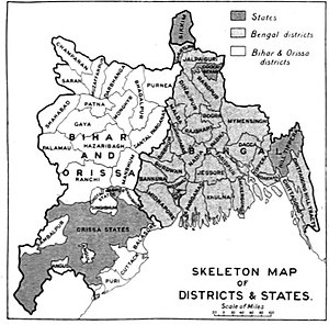 Mymensingh - Provincial Map of Bengal showing Greater Mymensingh Area (present Mymensingh Division with Tangail and Kishoreganj) in 1976