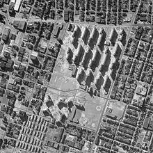Aerial photograph of the Pruitt-Igoe housing project