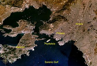 Psyttaleia - Location of Psyttaleia in the Saronic Gulf