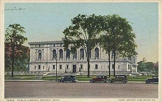 Detroit Public Library - Detroit Public Library depicted on a postcard