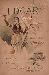 Cover of the libretto of Giacomo Puccini's Edgar by Giovanni Zuccarelli (1846-1897)