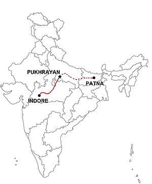 Pukhrayan train derailment - Scheduled train route from Indore to Patna.
