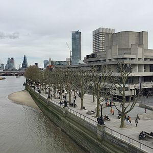 The Queen's Walk (South Bank) - A stretch of the Queen's Walk, passing the National Theatre