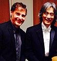 """Régis Campo avec le maestro Kent Nagano après la création de """"Paradis perdu"""" pour soprano et orchestre, le 8 août 2015, Montréal.jpg"""