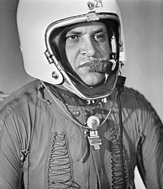Francis Gary Powers - Powers wearing special pressure suit for stratospheric flying, 1960