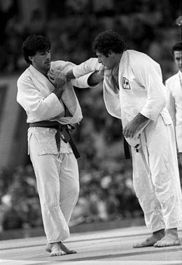 RIAN archive 556148 Judoists Bernard Tchoullouyan and Ignacio Sanza during their match.jpg